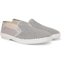 Rivieras Cotton Mesh And Canvas Espadrilles Gray
