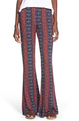Hip Mixed Print Flare Leg Pants Juniors Navy Rust