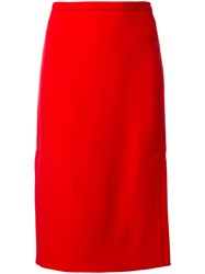 Marni A Line Pencil Skirt Silk Virgin Wool Red