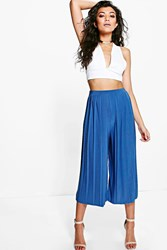 Boohoo Slinky Pleated Wide Leg Cropped Trousers Vintage Blue