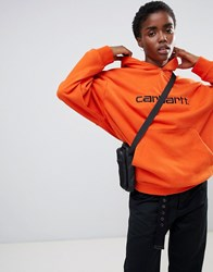 Carhartt Wip Relaxed Hoodie With Logo Persimmon Black Orange