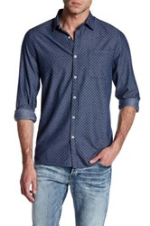 Indigo Star Allen Long Sleeve Printed Chambray Tailored Fit Shirt Blue