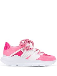 Leather Crown Border Line Sneakers Pink