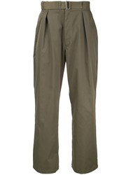 Marka Wide Leg Work Trousers Polyester Green