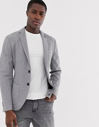 Selected Homme Slim Jersey Blazer With Patch Pockets In Grey