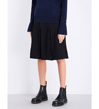 Izzue Pleated Wool Blend Skirt Black