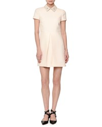 Red Valentino Short Sleeve Pleated Front Mini Dress Off White Women's