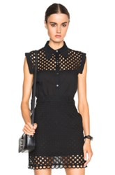 Carven Eyelet Collared Top In Black