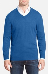 Men's Big And Tall Nordstrom Cashmere V Neck Sweater Blue Dark