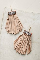 Anthropologie Caged Leather Tassel Earrings Pink