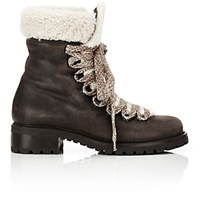 Barneys New York Women's Shearling Lined Garnet Ankle Boots Dark Brown