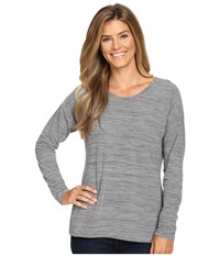 Exofficio Wanderlux Jacquard Ballet Neck Charcoal Heather Women's Long Sleeve Pullover Gray