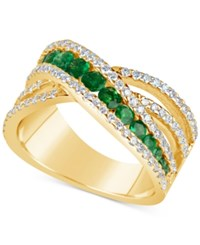 Macy's Emerald 9 10 Ct. T.W. And Diamond 3 4 Ct. T.W. Crisscross Ring In 14K Gold Green