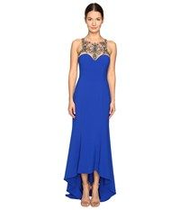Marchesa Stretch Crepe High Low Gown With Beaded Bodice Royal Women's Dress Navy