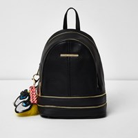 River Island Womens Black Mini Charm Zip Backpack