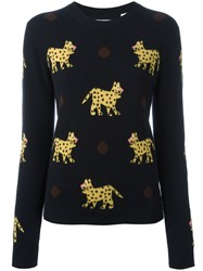 Chinti And Parker Leopard Intarsia Jumper Blue