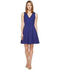 Adelyn Rae Pauline Knit Ponte Fit And Flare Bright Navy Women's Dress