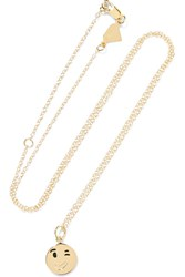 Alison Lou Small Wink Face Enameled 14 Karat Gold Necklace