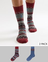 Totes Twin Pack Socks In Berry Red