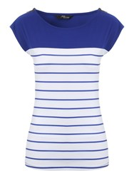 Jane Norman Zip Stripe Top Blue