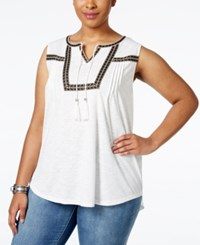 Styleandco. Style And Co. Plus Size Sleeveless Peasant Blouse Only At Macy's Winter White