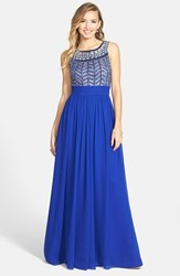 Women's Js Collections Embellished Chiffon Gown Royal