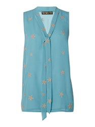 Biba Star Embroidered Tie Detail Blouse Blue