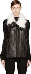 Helmut Lang Petal Leather Fur Lined Vest