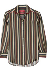 F.R.S For Restless Sleepers Leda Striped Silk Shirt Army Green