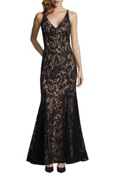 Xscape Evenings Sleeveless Flocked Lace Gown Black Nude