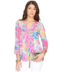 Lilly Pulitzer Daylen Tunic Multi Palm Beach Coral Women's Blouse