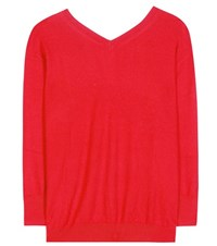 Isabel Marant Etoile Kinsey V Neck Cotton And Wool Sweater Red