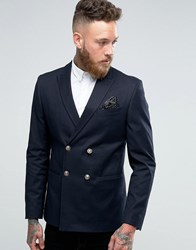 Asos Skinny Blazer With Gold Buttons Navy