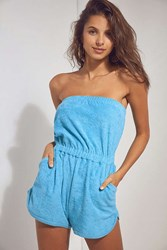 Bdg Terry Strapless Romper Teal