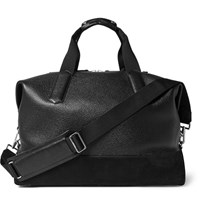 Tom Ford Suede Trimmed Full Grain Leather Holdall Black