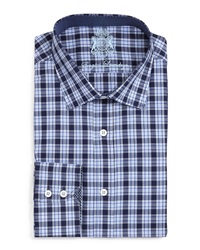 English Laundry Plaid Dress Shirt Navy Blue