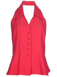 Moschino Vintage Halter Neck Blouse Red