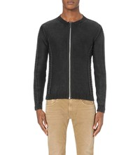 Replay Ribbed Cotton Cardigan Black