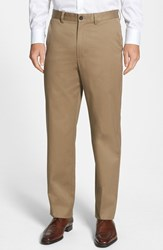 Men's Big And Tall Nordstrom Smartcare Relaxed Fit Flat Front Cotton Pants Taupe