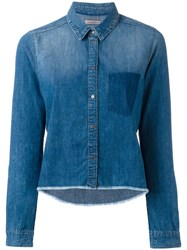 Calvin Klein Jeans Raw Hem Denim Shirt Blue