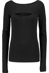 Donna Karan Cutout Stretch Jersey Top Black