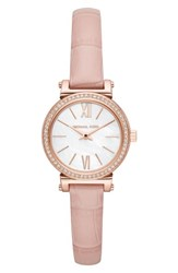 Michael Kors 'S Sofie Crystal Leather Strap Watch 26Mm Pink Mop Rose Gold