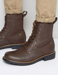 G Star Labour Lace Up Leather Boots Brown