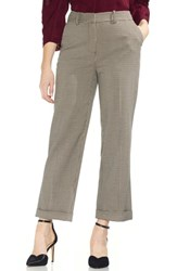 Vince Camuto Country Houndstooth Check Cuff Crop Pants Rich Black