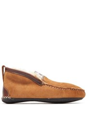 Quoddy Dorm Shearling Lined Suede Loafer Boots Brown