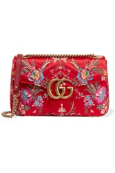 Gucci Gg Marmont Medium Quilted Floral Jacquard Shoulder Bag Red