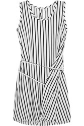 Mcq By Alexander Mcqueen Striped Voile Mini Dress White