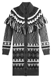 Red Valentino Alpaca Virgin Wool Cardigan With Fringing Grey