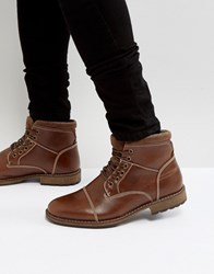 New Look Military Lace Up Boots In Brown Tan