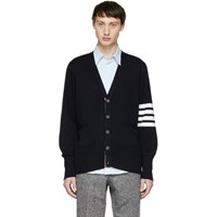 Thom Browne Navy Milano Stitch Four Bar Cardigan